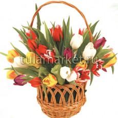 Корзина разноцветных тюльпанов