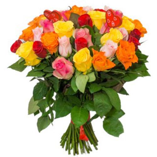 фото букет разноцветных роз